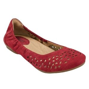 Earth Red Breeze Laser Cut Leather Ballet Flat